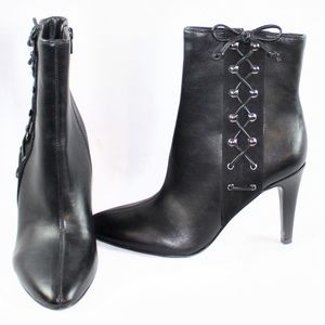 9 West Black Gesao Side Laced Ankle Boots
